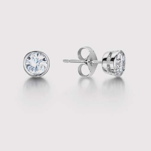 Rub Over Round Diamond Earrings