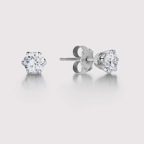 6 Claw Classic Round Diamond Earrings