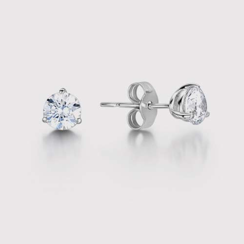Modern Round Cut Diamond Stud Earrings