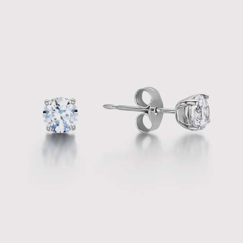 Traditional Round Diamond Stud Earrings