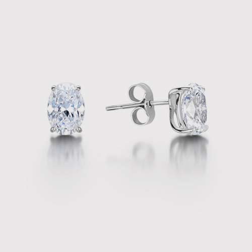 Classic Oval Diamond Stud Earrings