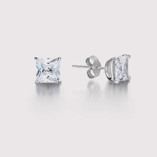 Classic Princess Cut Diamond Stud Earrings