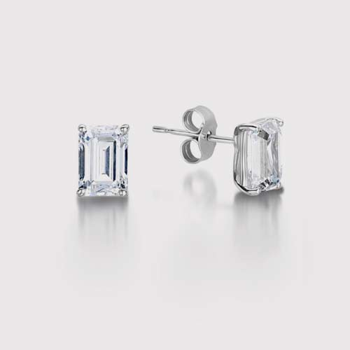 Traditional Emerald Cut Diamond Stud Earrings