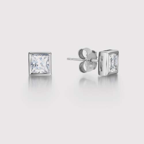 Rub Over Modern Princess Diamond Earrings