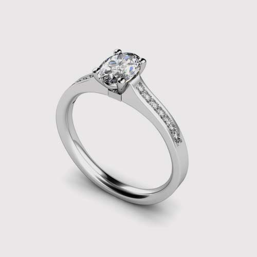 Shoulder Set Oval Diamond Engagement Ring