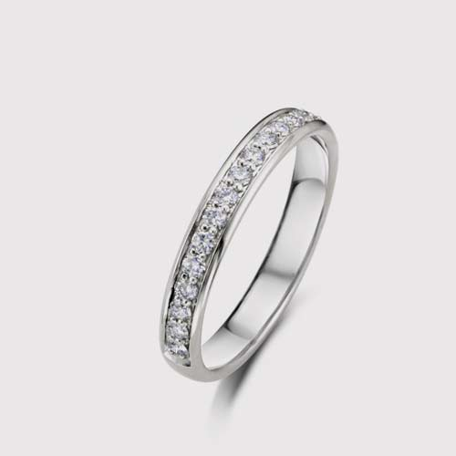 75% Pave set Round Diamond Eternity Ring